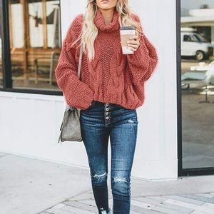 New Chunky Cable Knit Turtleneck Sweater